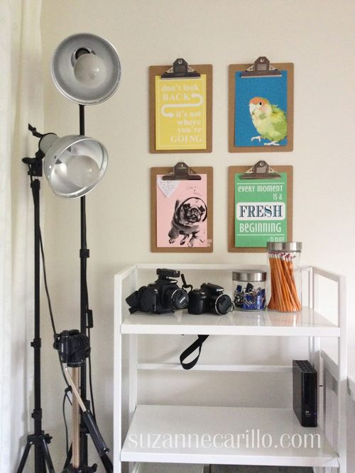 Home office clipboard wall decor idea suzanne carillo style files
