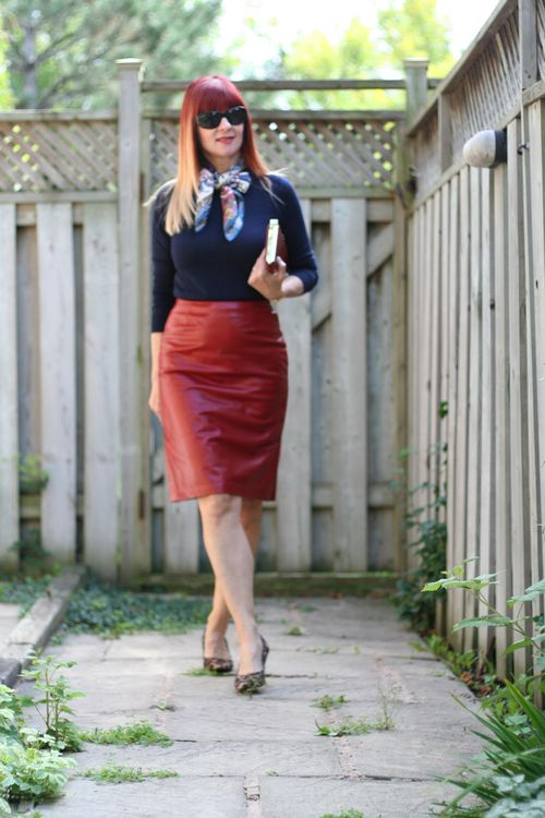 How to wear red leather over 40 suzanne carillo